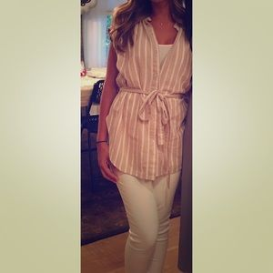 Beige and white stripe free people tank